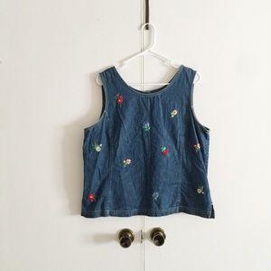 Susan Bristol Embroidered Sleeveless Denim Top.